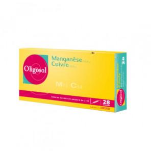 Oligosol manganèse cuivre 28 ampoules 56ml