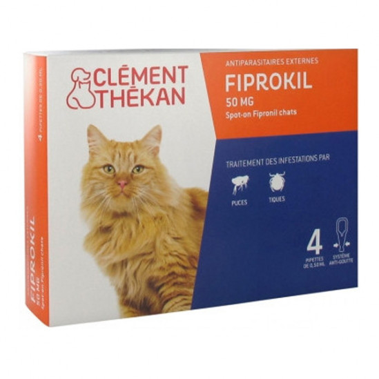 Clément Thékan Fiprokil Chat 50mg 4 pipettes